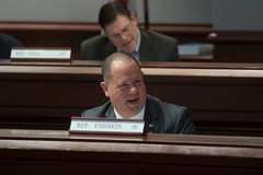Rep. Fishbein reacts during testimony before the Judiciary Committee.