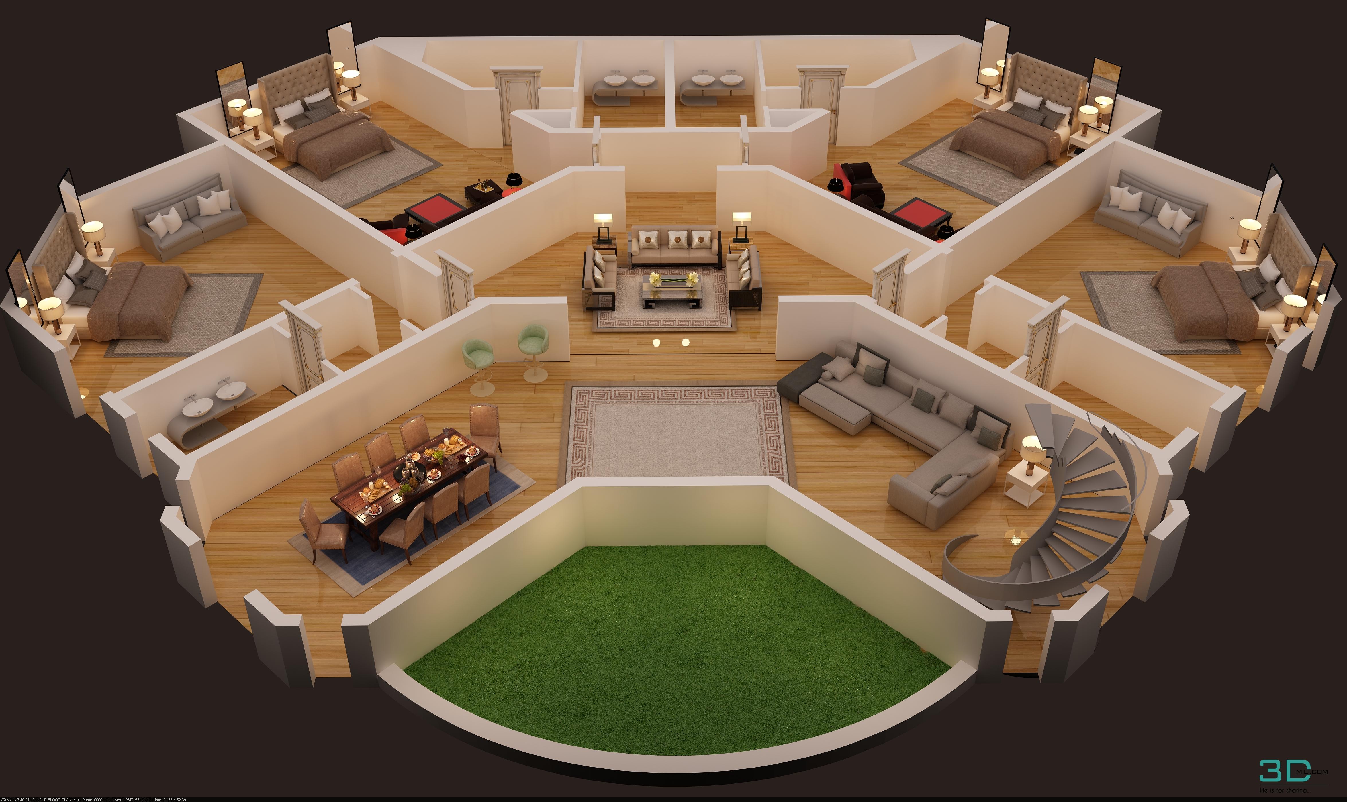 3d Floor Plan Of Luxury Villa Second Floor 3dmili 2021 Download 3d Model Free 3d Models 3d Model Download 3dmili 2021 Download 3d Model Free 3d Models 3d Model Download