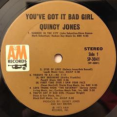 QUINCY JONES:YOU'VE GOT IT BAD GIRL(LABEL SIDE-A)