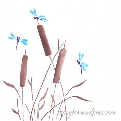 Chinese brush painting bulrushes & dragonflies