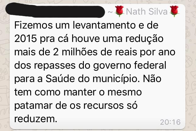 Palavras da secretária Nathália Silva, de Óbidos, Semsa