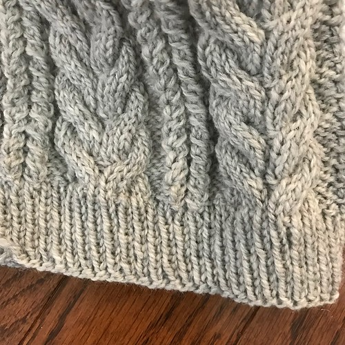 Lovely cables on the Bynx hat by Hayley Geary - yarn is Kelbourne Woolens Scout