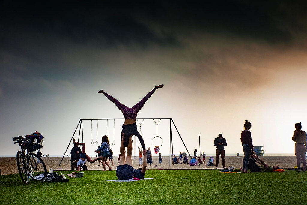 Practicing Acrobatics On Santa Monica Beach