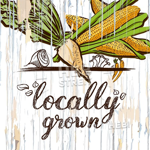 Locally grown illustration on wood