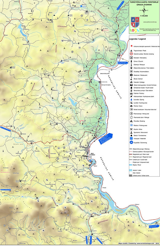 Туристическая карта Зворника и его окрестностей