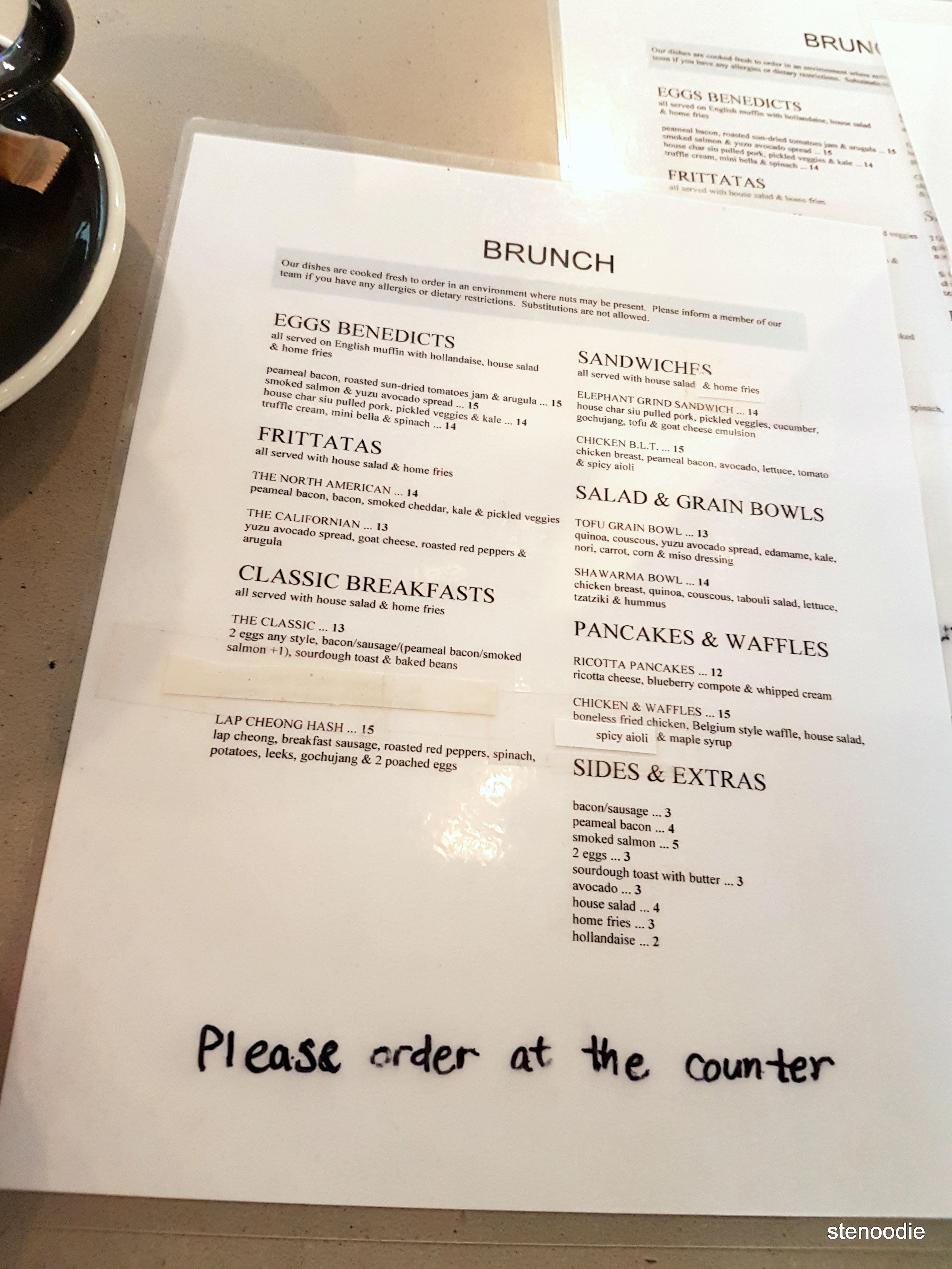Elephant Grind Coffee menu and prices