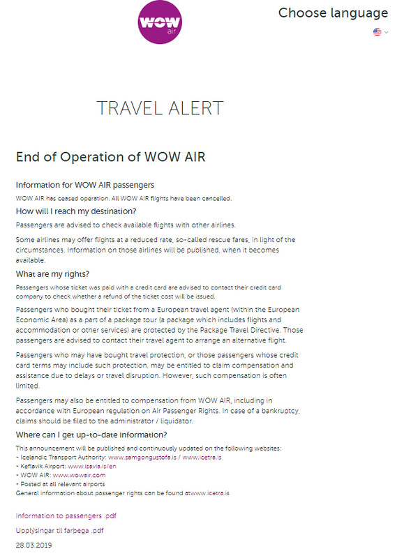 wow airlines statement
