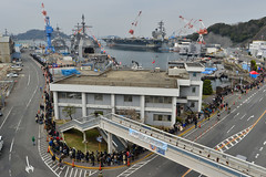 Visitors wait in line for a tour of USS Chancellorsville (CG 62) during the Fleet Activities Yokosuka's Spring Festival, March 30. (U.S. Navy/MC2 Tyler R. Fraser)