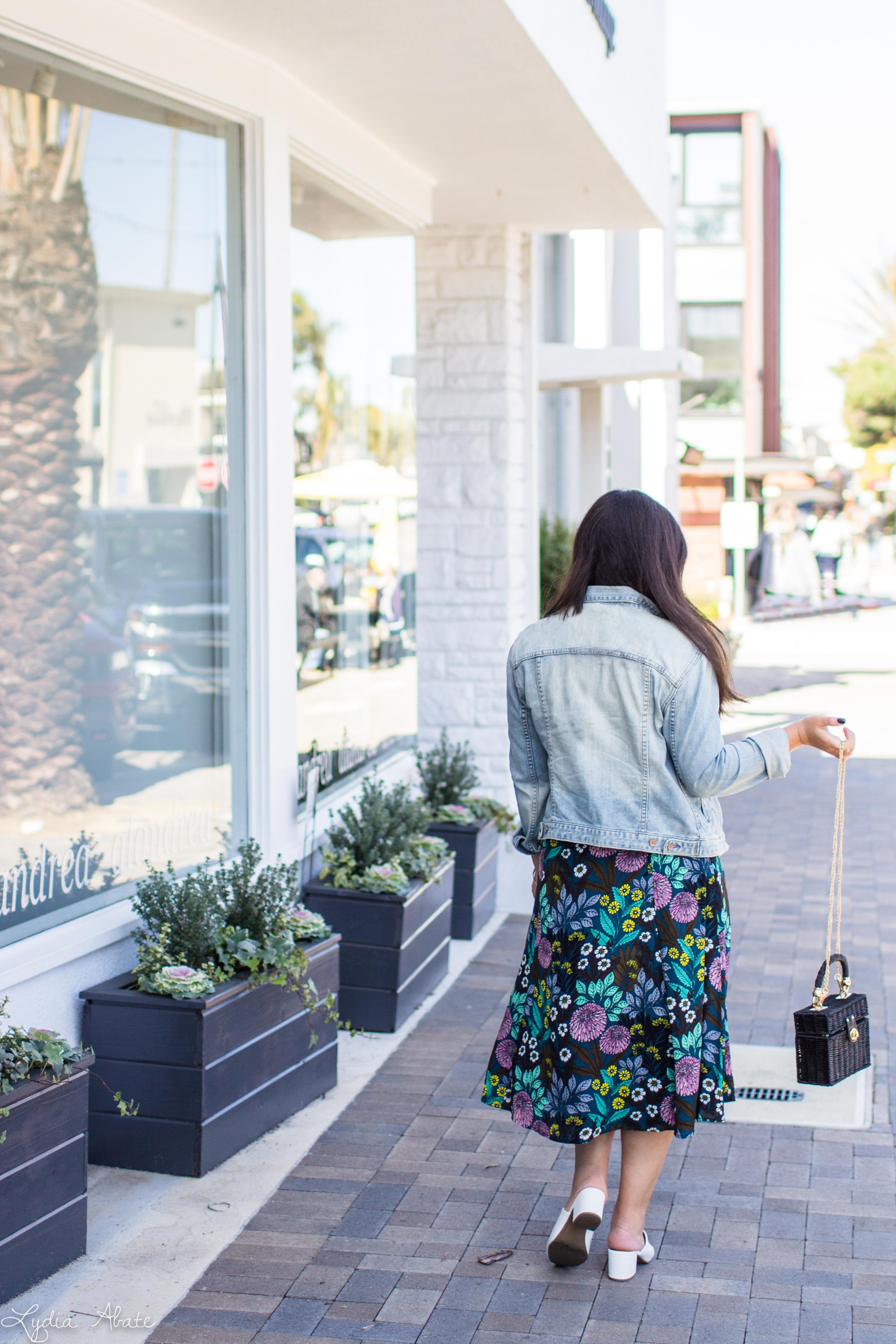 floral dress, denim jacket, black straw bag, white mules-9.jpg