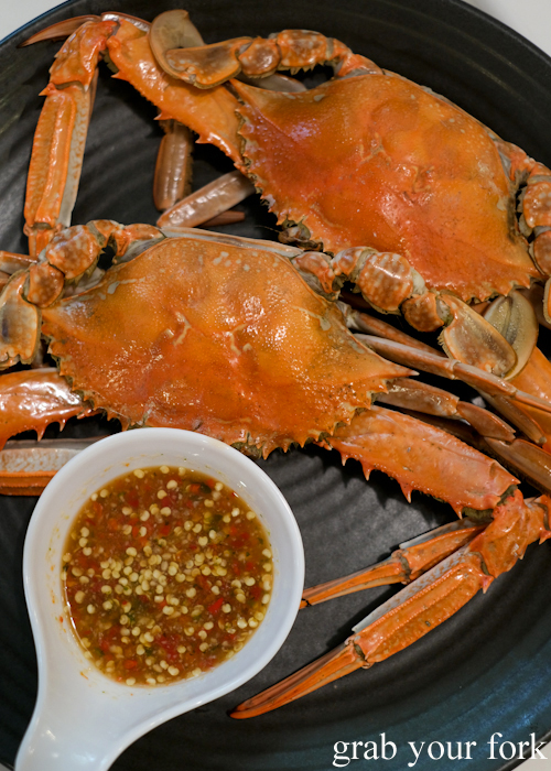 Blue swimmer crabs at the all you can eat prawn and crab buffet at Mojo Restaurant Sydney