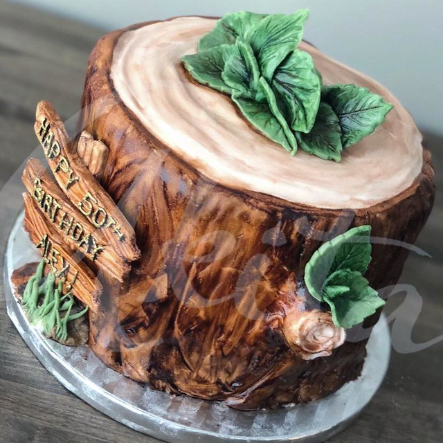 Tree Stump Cake by Akita Cupcakes
