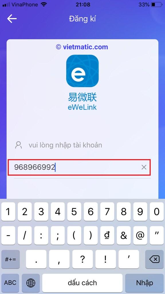 """Nhập số điện thoại đăng ký (Bỏ số """"0"""" đầu tiên)"""