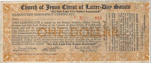 Mormon Church Depression Scrip One Dollar