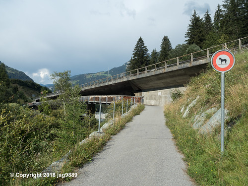 RHE153 Wooden Pedestrian Bridge over the Hinterrhein River, Andeer - Donat, Canton of Graubünden, Switzerland