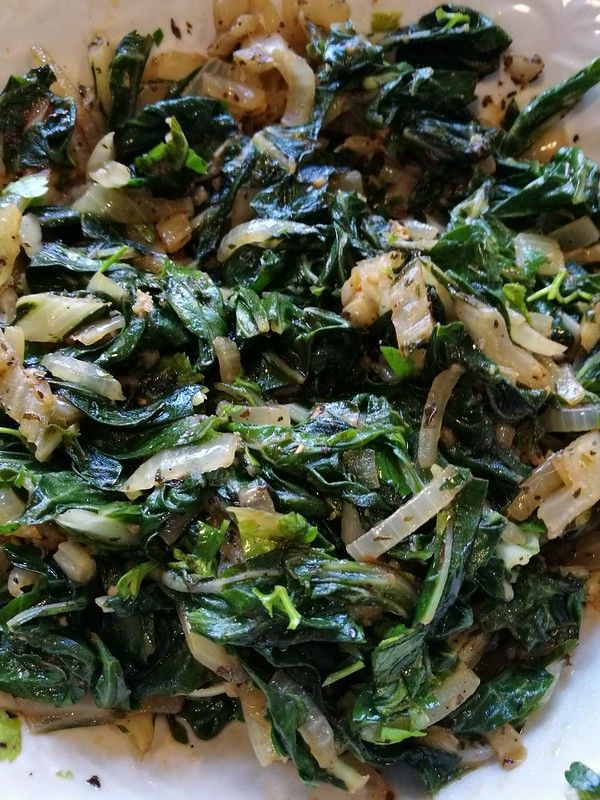 Fried Swiss chard