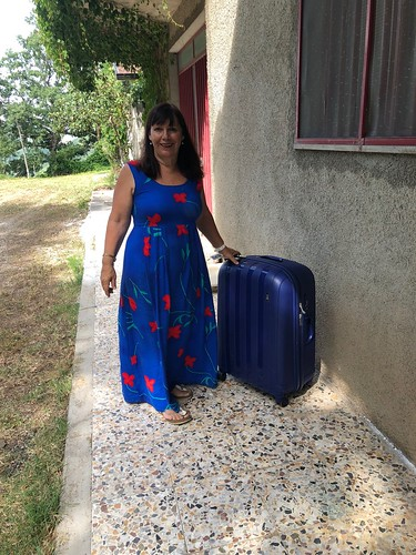 Barbara and the giant blue suitcase