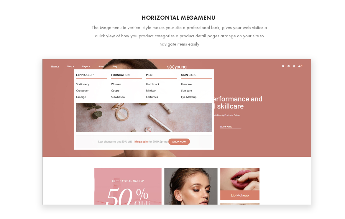horizontal mege menu - Leo Sooyoung - Cosmetics and Beauty Prestashop Theme