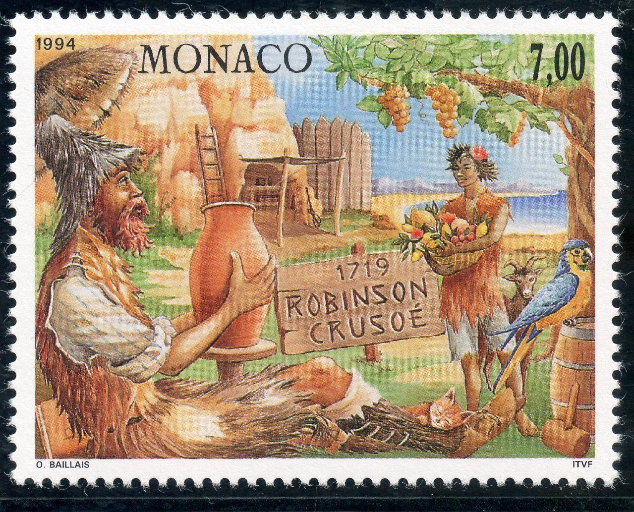 Monaco - Scott #1932 (1993) marking the 275th anniversary of the publication of Robinson Crusoe by Daniel Defoe