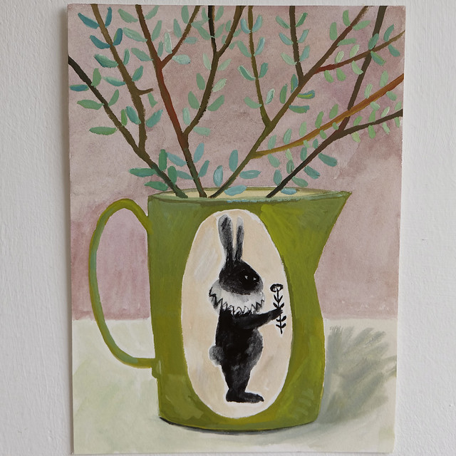 rabbit jug with leafy stems