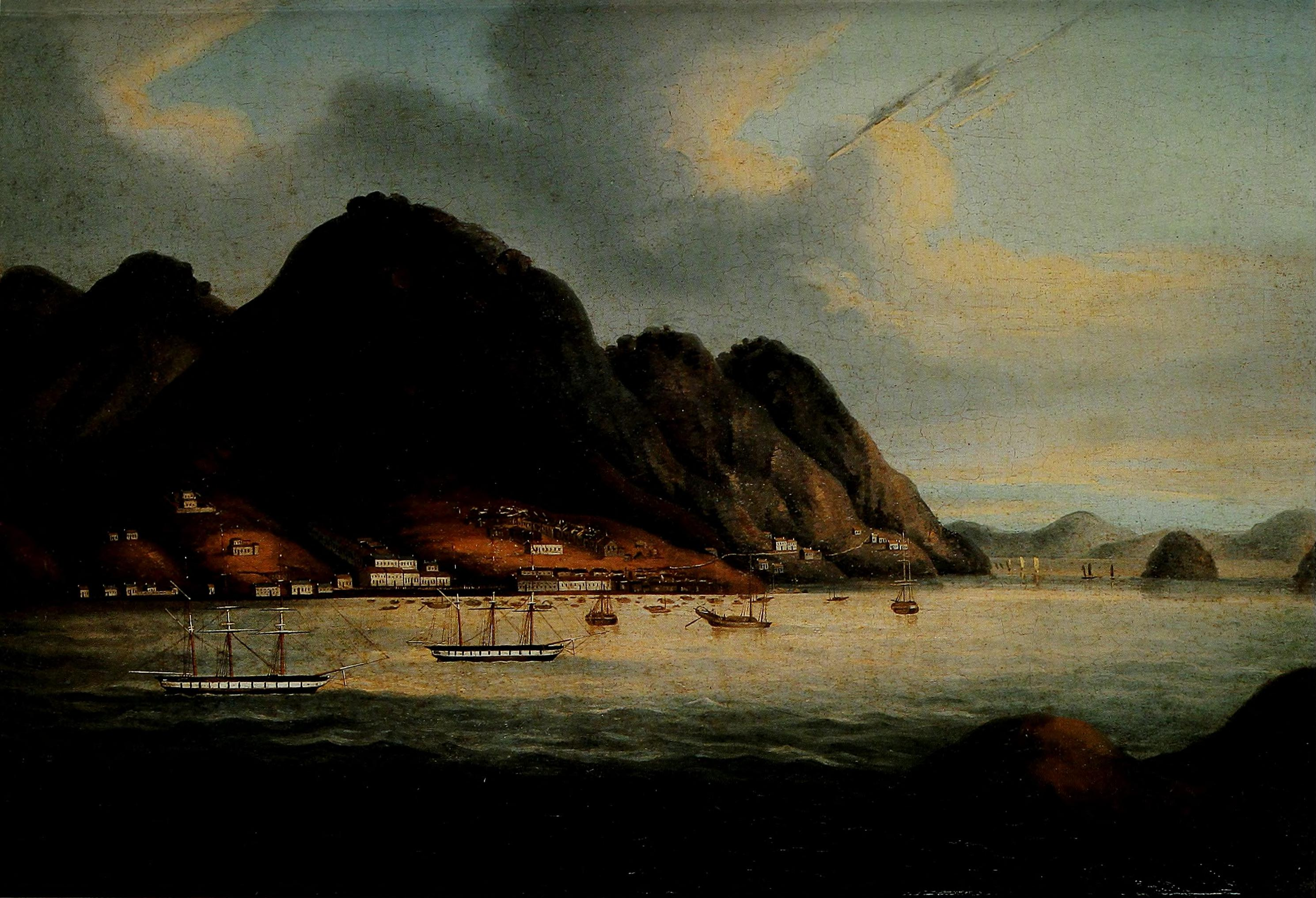 Possibly the earliest oil painting of Hong Kong Island, showing the path along the north shore (right) as it approaches the early waterfront settlement which became the town of Victoria. Dating from the mid-19th century and published in An Illustrated History of Hong Kong by Nigel Cameron. Hong Kong: Oxford University Press (1991). p. 102.