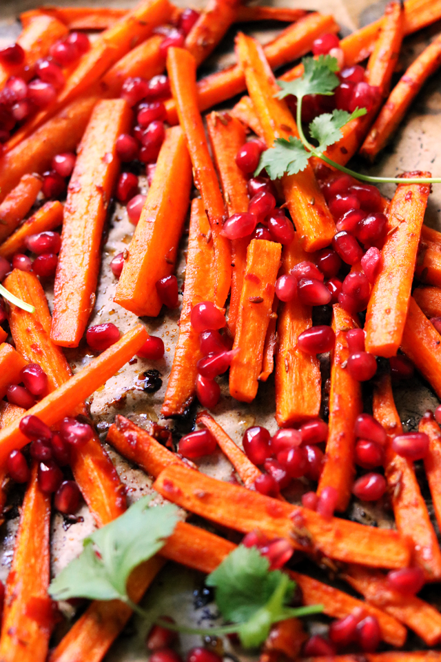 Roasted Carrots with Harissa and Pomegranate