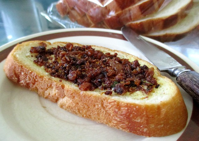 Sambal hay bee on buttered bread