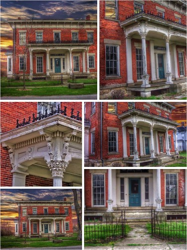 milan thomaedison inventor downtown huroncounty abandon abandonment italianate architecture style nrhp district onasill canal town mansion heritage attraction site historic ohio oh collage usa america sky clouds sunset