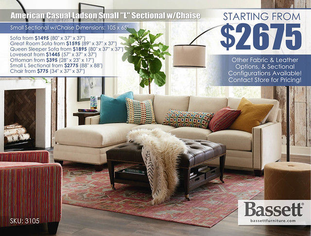 American Casual Ladson Small Sectional wChaise by Bassett_3105-LCSECTA