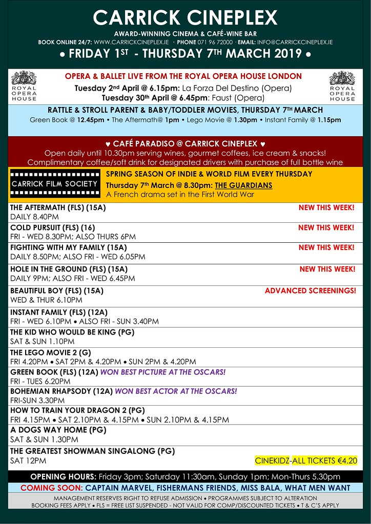 March 1st - 7th Film Schedule