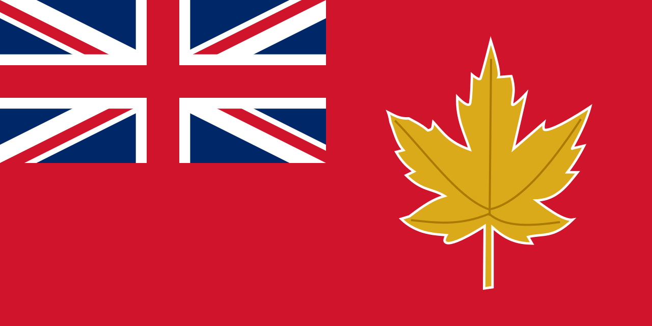 Proposed Canadian flag in 1946; red ensign with a golden maple leaf badge.