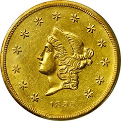 1855 Wass, Molitor $50 gold obverse