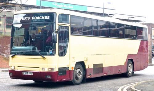 P386 JJU 'Harpurs Coaches', Derby. Volvo B10M / Plaxton Premiere on Dennis Basford's railsroadsrunways.blogspot.co.uk'