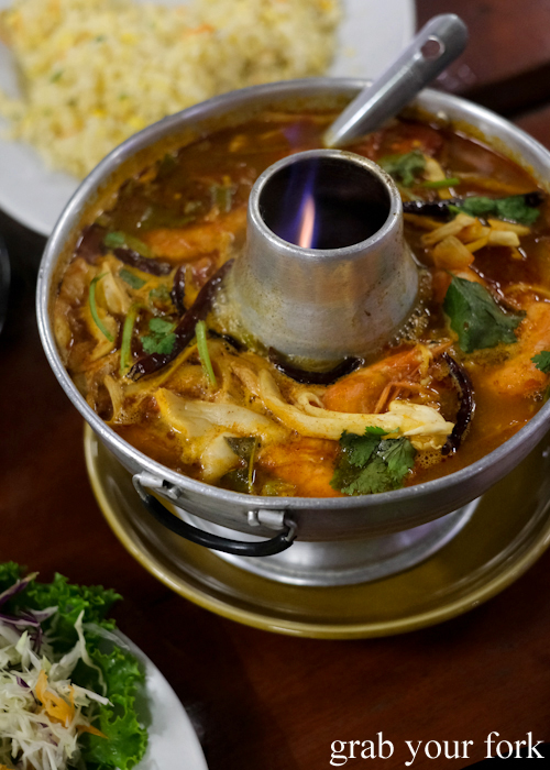 Tom yum prawn soup at Baan Khao Lak Seafood Restaurant in Thailand