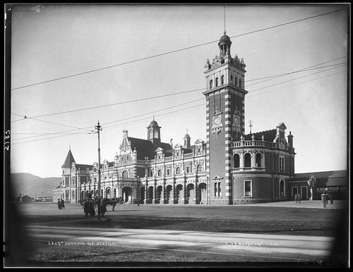 Otago Central trains left from perhaps New Zealand's grandest station, Dunedin. From Lost Railway Journeys: New Zealand's Otago Central Railway