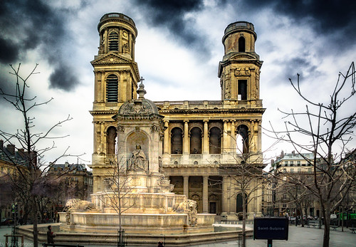 Place and Fountain Saint Sulpice, Paris, France-66