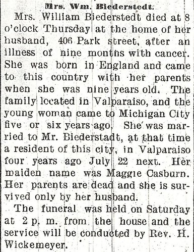 Biederstadt Maggie Casbon obituary 7May1903