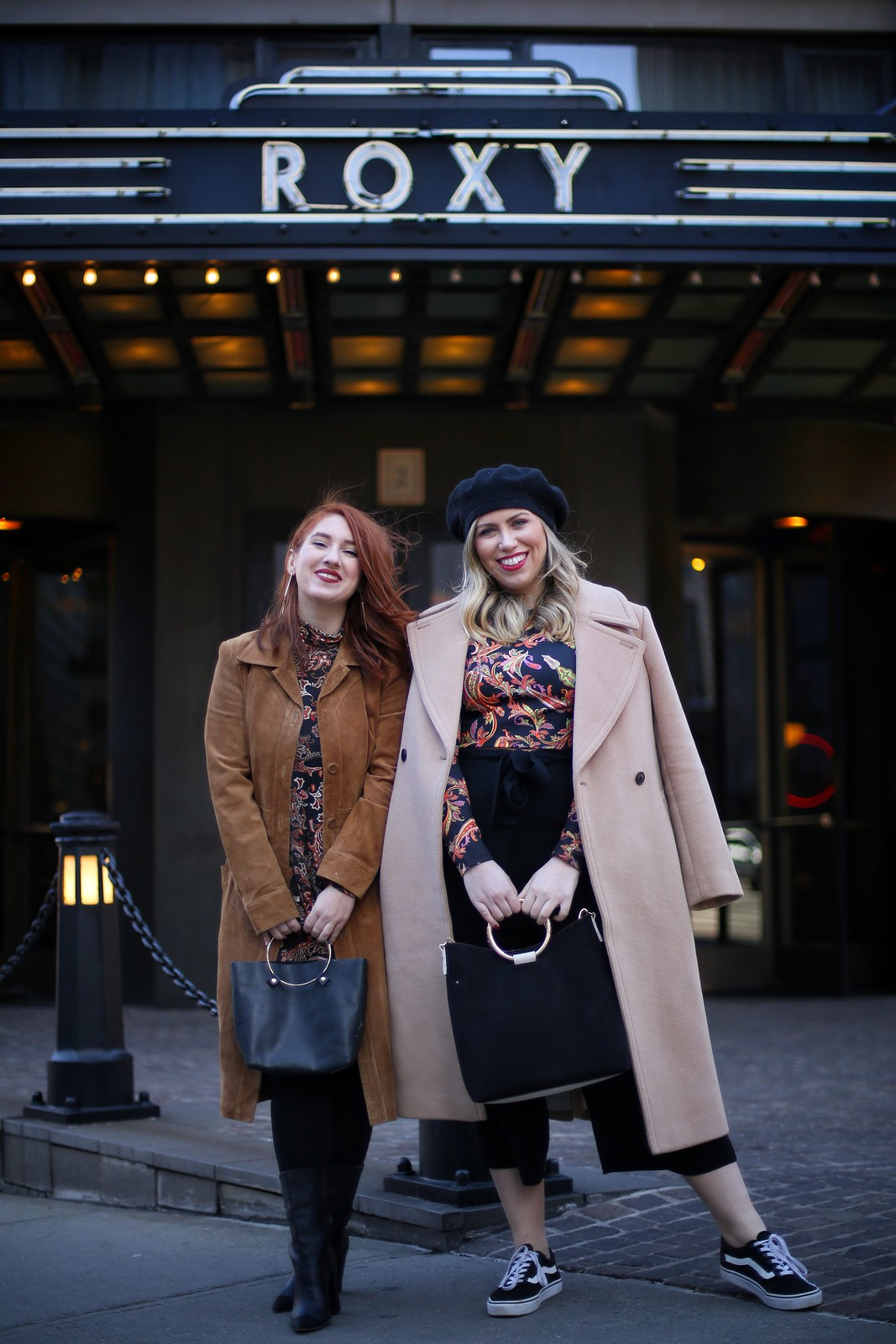 NYC Fashion Bloggers ASOS Paisley Print Winter Outfits Brown Coats Roxy Hotel Tribeca