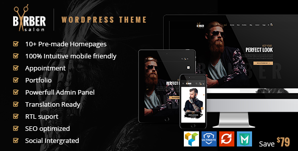 Barber v1.1.6 - Hair, Tattoo & Beauty Salons WordPress Theme