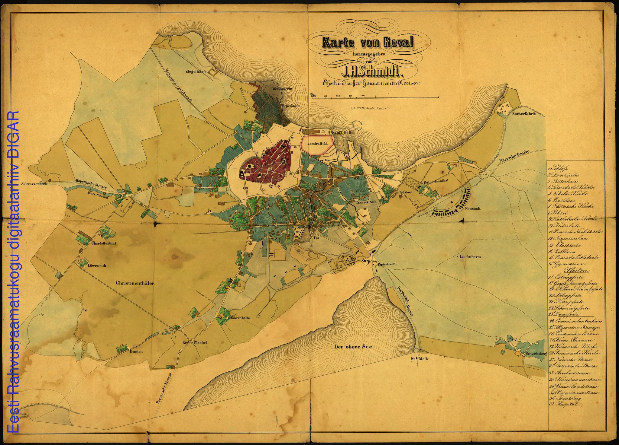 1860. Карта Ревеля
