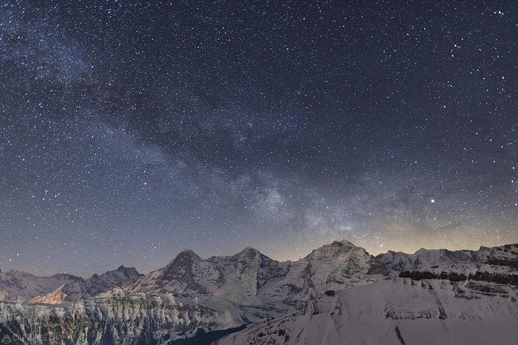 Milky way - Eiger Mönch and Jungfrau