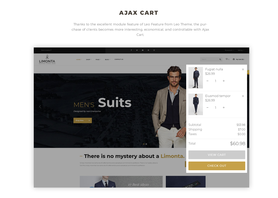 Ajax cart feature - men fashion prestashop theme