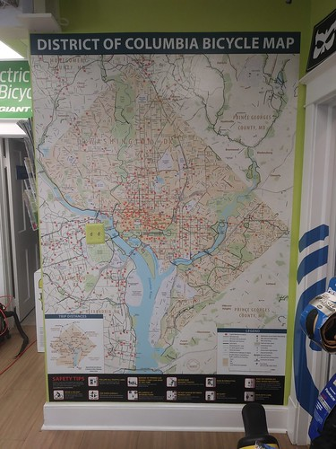 Large copy of Washington DC Bicycle Map posted on a wall of the Takoma Bicycle Shop, Takoma Park, Maryland