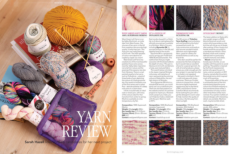 May 2019 yarn reviews by Sarah Hazell featuring It's a Stitch Up Dynamite DK in 'Shinjuku'