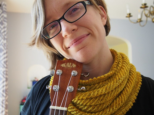 Yellow Cowl, Ukulele, and very very tired lady.