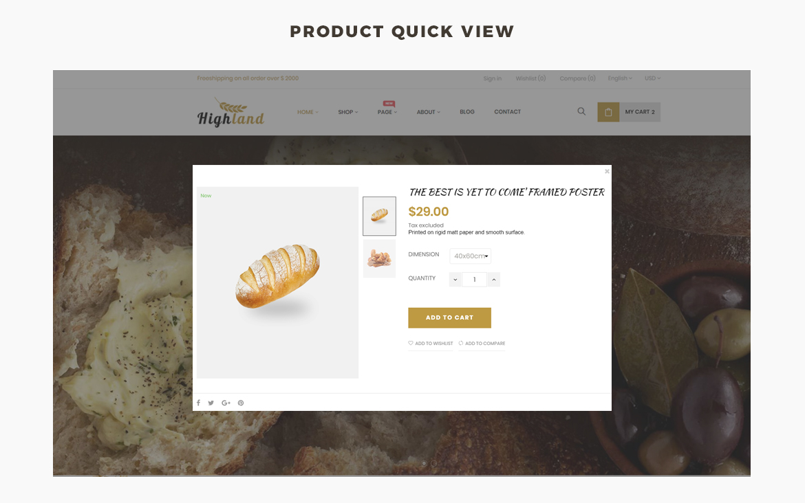 product quick view - food and drink prestashop theme
