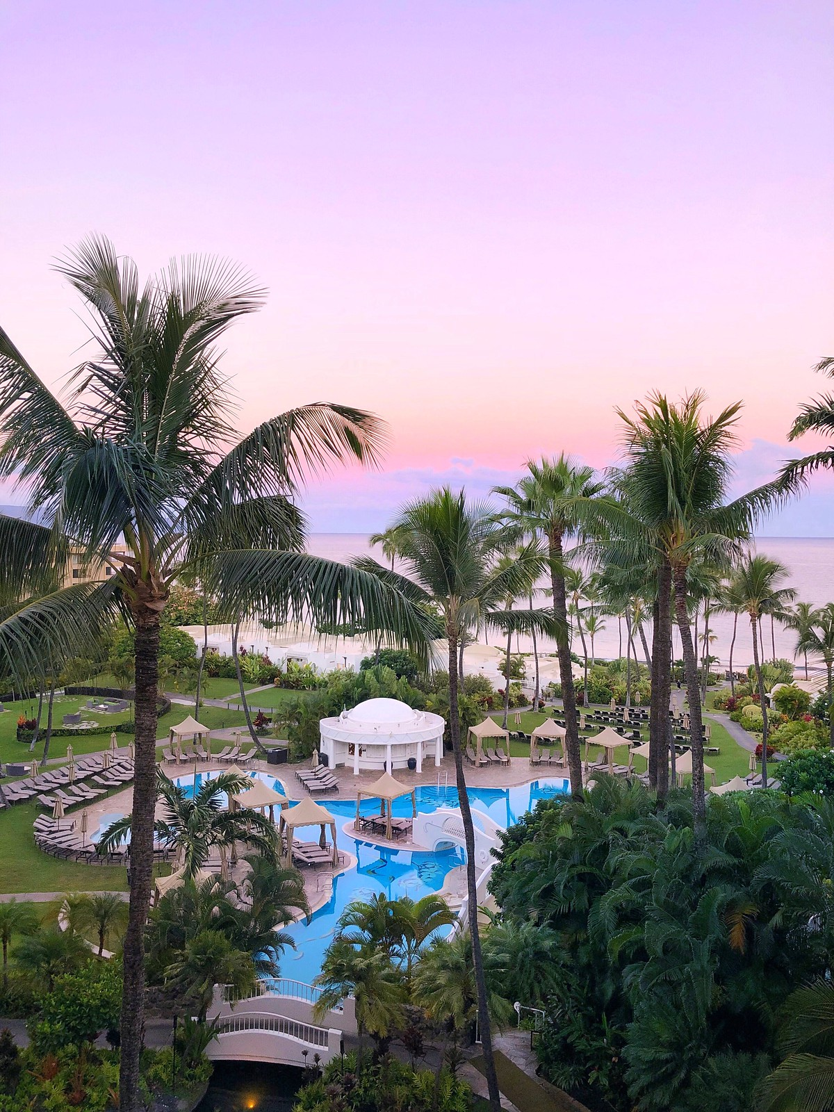 Cotton Candy Sunrise Balcony View Hotel Pool Fairmont Kea Lani BEST Hotel in Maui Where to Stay on Maui Hawaii
