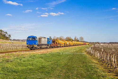 20 mars 2019 92 87 0002 027-6 Train Dégarnissage RVB Libourne/Bergerac Saint-Hippolyte (33)