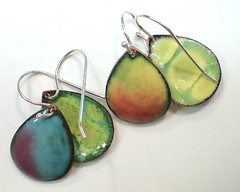 Two Pairs of Reversible Earrings (enamel on copper)