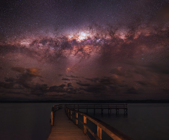Milky Way setting over Lake Clifton, Western Australia