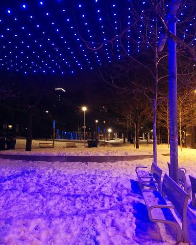 Blue at the 519 (2) #toronto #churchandwellesley #churchstreet #the519 #barbarahallpark #blue #lights #night